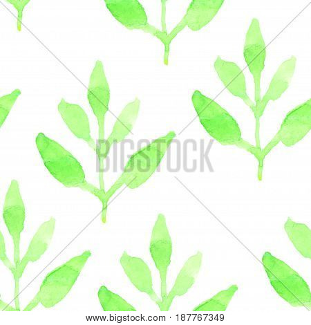Retro seamless pattern with green plants. Seamless Floral Pattern. Watercolor graphic for backgrounds papers and fabrics. Vector illustration