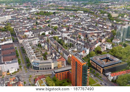 Dusseldorf, Germany - May 11, 2017: High Top View Of Many Roofes Of City Houses From Dusseldorf Rhin