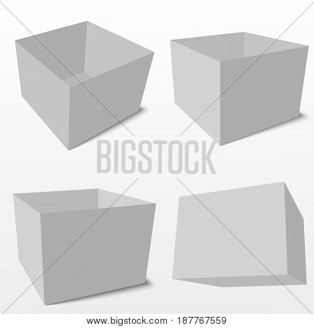 White product cardboard square package box in different angle. Mock Up vector template.