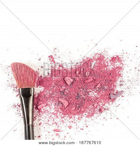 Makeup brush on white background, with vibrant traces of powder and blush. A square template for a makeup artist's business card or flyer design, with plenty of copy space