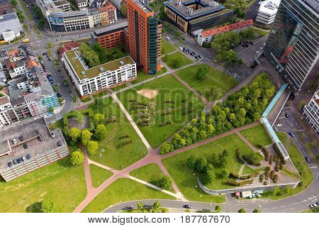 Dusseldorf, Germany - May 11, 2017: High Top View Of City Office Buildings And Green Bright Park In