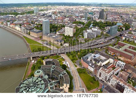 High Top View Of City Buildings And Motorway From Dusseldorf Rhine Tower. Germany
