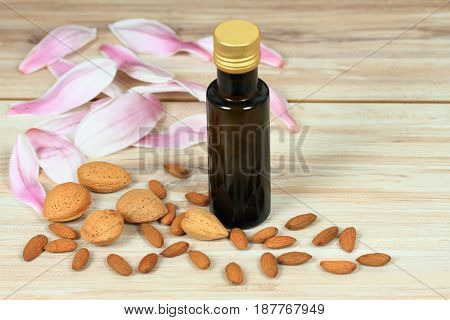 Organic almond oil in a bottle almond kernels and nuts around decorated with pink magnolia petals.