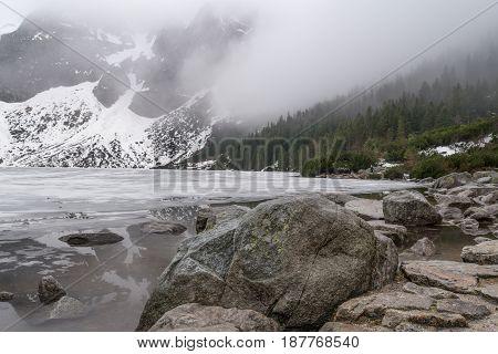 Mountain lake near Morskie Oko, Zakopane, may 2107 Tatra mountains, Poland.
