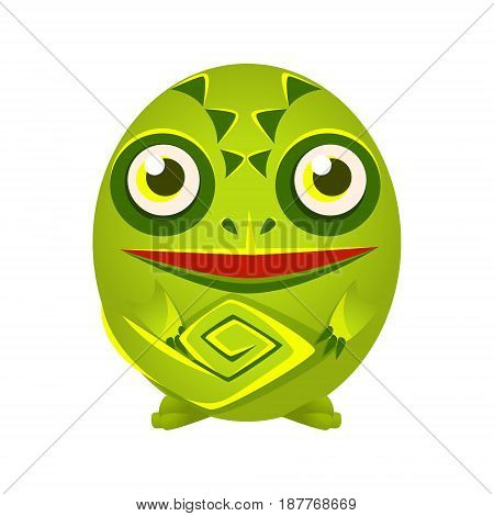 Cute green chameleon geometric amphibian, colorful cartoon character vector Illustration isolated on a white background