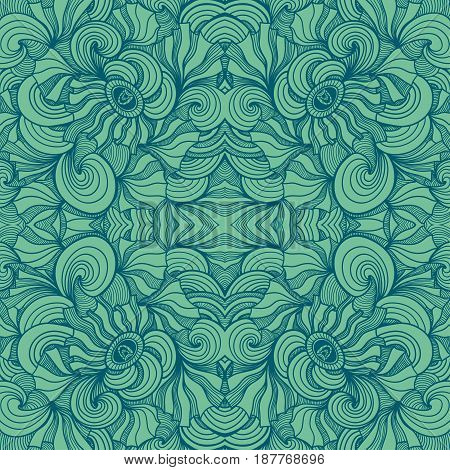 Abstract Zen-doodle seamless pattern in  green colors for  decoration cosmetic perfume textile clothes package
