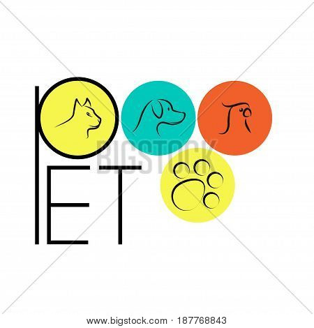 Pet shop with cat dog parrot silhouette. Vector illustration of animal portraits in colorful circles.
