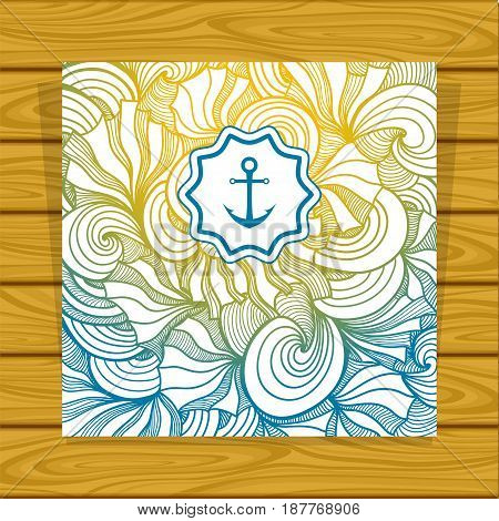 Template Abstract summer Zen-doodle background with anchor in yellow blue for decoration marine or summer flyers menu or banners