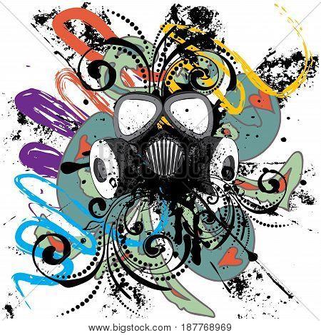 Grunge Floral Gas Mask