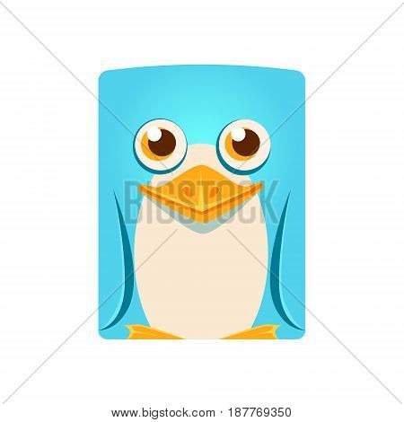 Cute friendly geometric penguin bird, colorful cartoon character vector Illustration isolated on a white background