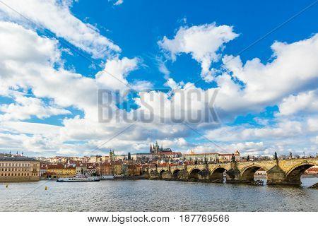 Aerial View Of Charles Bridge In Prague