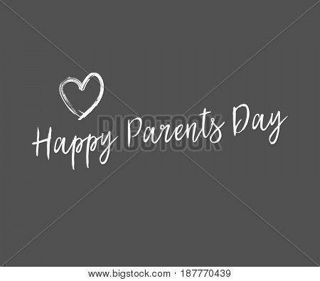 Happy Parents Day gray vector illustration with white heart