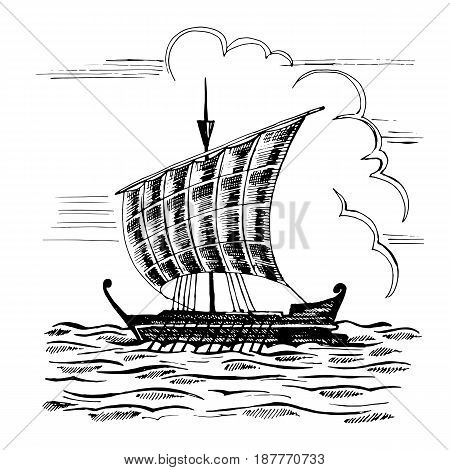 Vintage sailboat with one mast. It moves through the waves at the oars.  Hand drawn  vector sketch of the vessel on the water background.  Travel illustration.