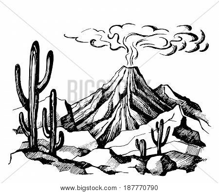 Vector sketch landscape volcanic eruption. Cacti and rocks. Mexico. Stock Illustration.