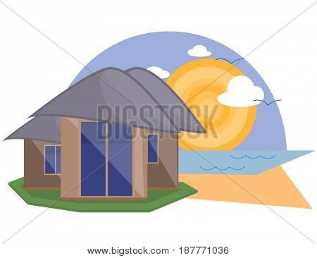 Sea Side Summer Landscape With House Shiny sun and Clouds in Flat Design. Vector Illustration.