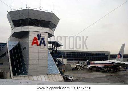 NEW YORK CITY - MARCH 19: American Airlines fight the slump in air traffic by lowering prices, including flights from its terminal at the JFK Airport in New York March 19, 2009 in New York City.