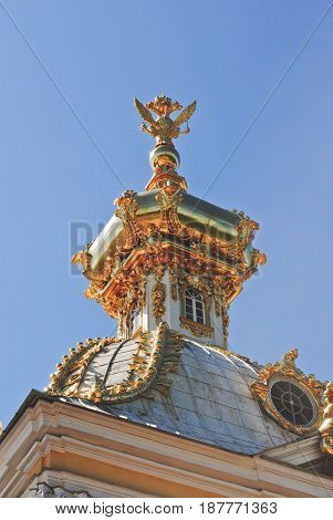 PETERHOF RUSSIA - 21 May 2017: Detail of the petrodvorets. Golden dome and eagle close-up