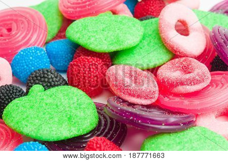A lot of assorted colorful candies or gummies