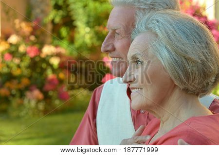 Portrait of a happy elderly couple embracing