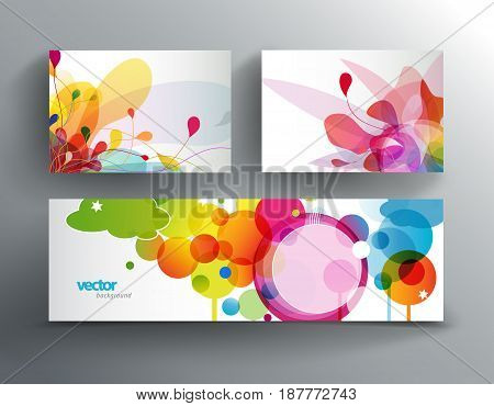 Set of abstract colorful cards and web banner.