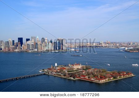 Ellis Island in New York City was the main entry point of immigrants to the United States in 1892-1954, nowadays a museum. Behind left is Manhattan.