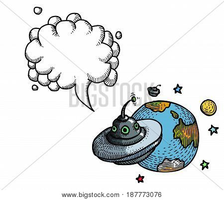 Cartoon image of flying saucer and planet. An artistic freehand picture. With speech bubble.