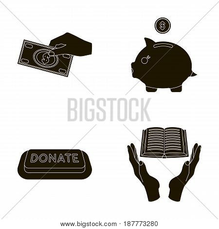 Hand with money for poshestvovaniya, a piggy bank for charity, a button with an inscription, a book for the blind in their hands. Charity and donation set collection icons in black style vector symbol stock illustration .