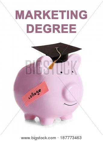 Marketing degree concept. Piggy bank in graduation cap on white background