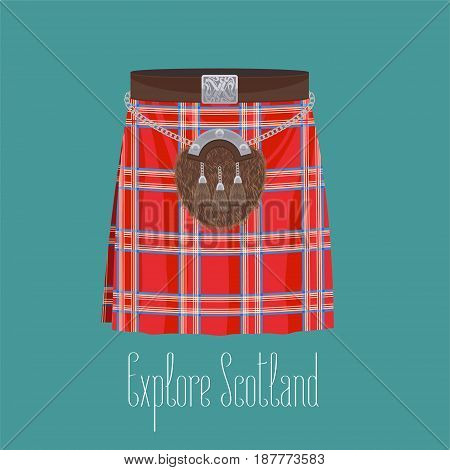 Scottish traditional skirt kilt with square pattern vector illustration. Concept image of traveling to Scotland