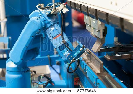 Robotic arm. Assembly, machine tending, part transfer, pick and place robot arm.