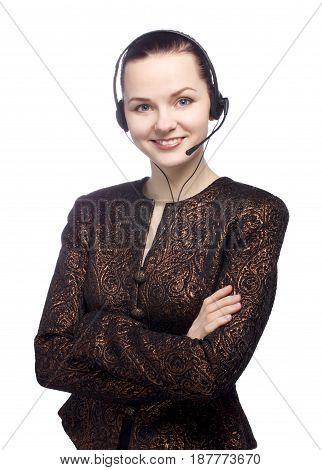 Can I help you. Portrait of a female customer service representative