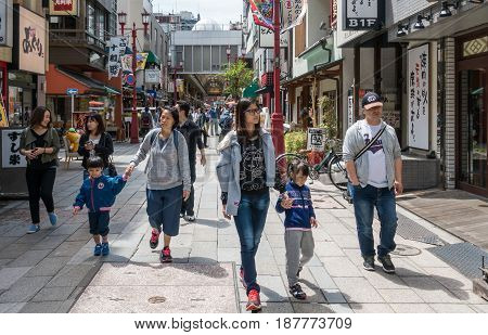 Tokyo Japan - May 4 2017: People are traveling in Asakusa Shopping district.