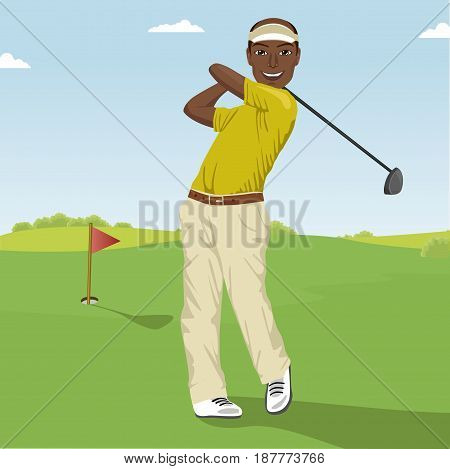 African american male golf player hitting the ball. Professional male golfer on the golf course.