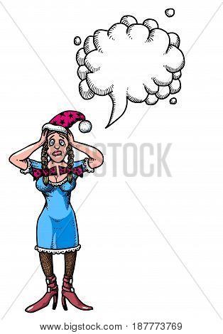Cartoon image of stressed woman wearing santa hat. An artistic freehand picture. With speech bubble.