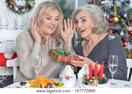 Portrait of two senior women in restaurant