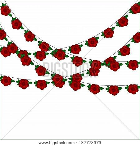 Garlands of roses. Card for Valentine's Day.