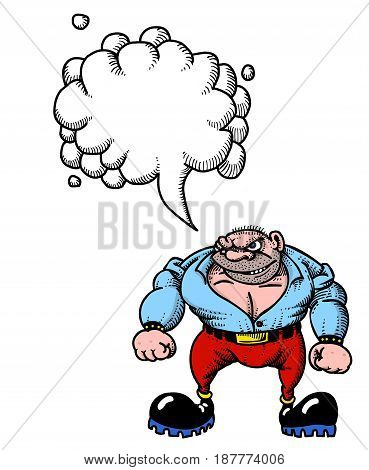 Cartoon image of tough man. An artistic freehand picture. With speech bubble.