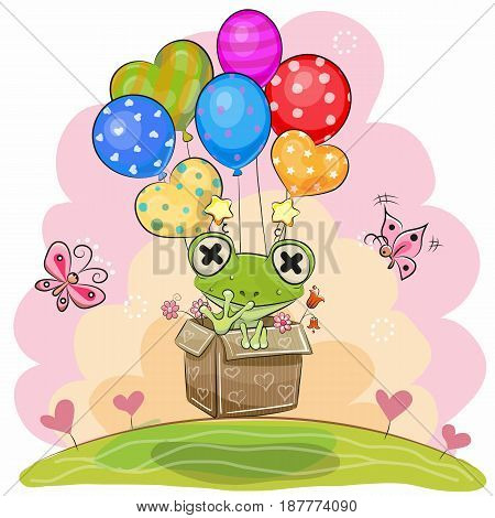 Cute Cartoon Frog in the box is flying on balloons