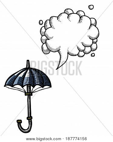 Cartoon image of Umbrella Icon. Shelter symbol. An artistic freehand picture. With speech bubble.