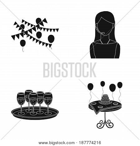 Garland with flags and balls, leading celebration with a microphone, a tray with glasses with champagne, a table covered with a tablecloth with plates, cake and balls. Event services set collection icons in black style vector symbol stock illustration .