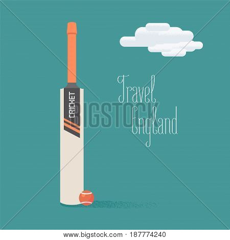 Cricket ball and bat vector illustration with travel to England quote. Concept image for exploring England and United Kingdom