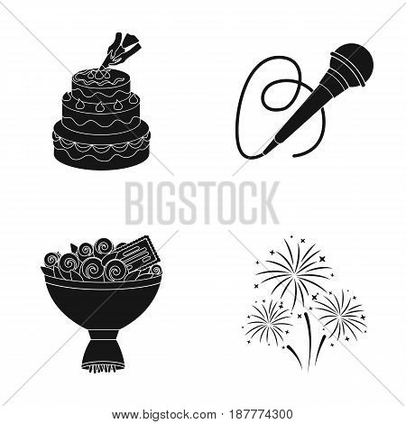 Hand making a cake with cream, a microphone with a cord, a bouquet of roses with a greeting card, a festive salute. Event services set collection icons in black style vector symbol stock illustration .