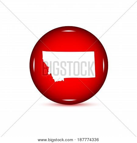 Map of the U.S. state of Montana. Red button on a white background.