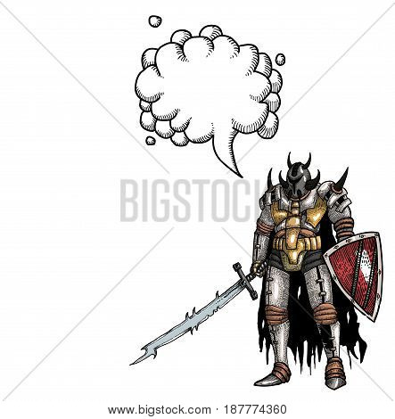 Cartoon image of warrior with sword. An artistic freehand picture. With speech bubble.