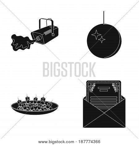 A video camera with smoke, a twirling holiday ball, a plate of sandwiches, an envelope with a greeting card. Event services set collection icons in black style vector symbol stock illustration .