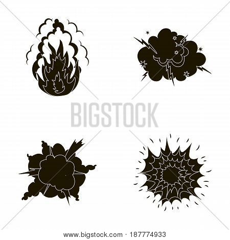 Flame, sparks, hydrogen fragments, atomic or gas explosion, thunderstorm, solar explosion. Explosions set collection icons in black style vector symbol stock illustration .