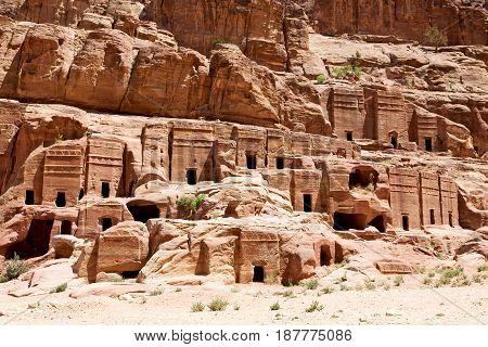 Tomb In The Antique Site Of Petra In Jordan