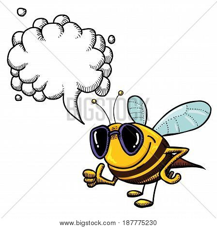 Cartoon image of bee wearing sunglasses. An artistic freehand picture. With speech bubble.