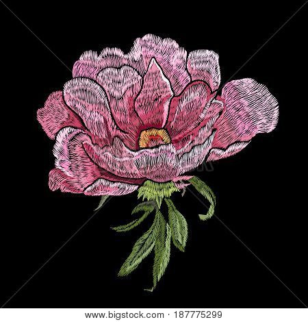 Embroidery pink rose, embroidery rose, drawn embroidery rose, embroidery rose flower, decoration embroidery rose flower, pink rose flower, embroidery pink rose. Vector.
