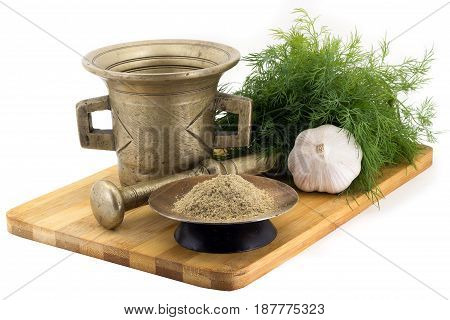 Composition Of Spices, Blue Fenugreek, Dill, Garlic, Vintage Spice Grinder Isolated On White Backgro